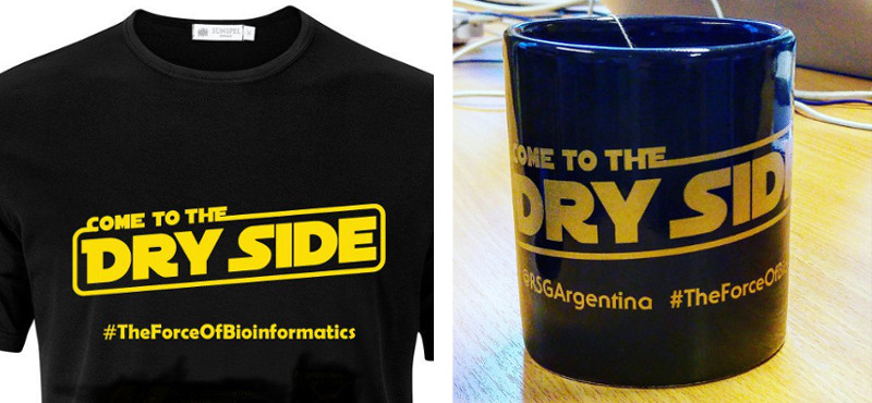 Come to the dry side, an invitation from the RSG-Argentina, printed on merchandise available at ISCB-LA 2016. Photo of the mug by Bart Cuypers