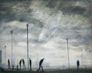 """""""Standing figures and telegraph poles"""" by Theodore Major (1908-1999)."""